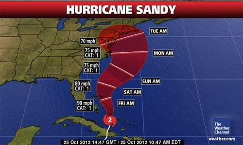 Hurricane Sandy is just about to hit the east coast – are you prepared?